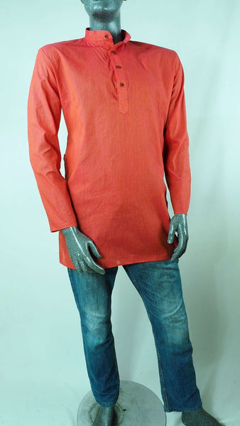 Prachy Creations : Astra - Mens Coral shirt - Kurta top - Ideal on a pair of jeans 0417