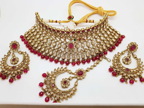 Prachy Creations : Reverse stone Rich Magenta Red Choker necklace set - Bollywood - Weddings - AONE5000 TY0419, Large / Magenta / Antique