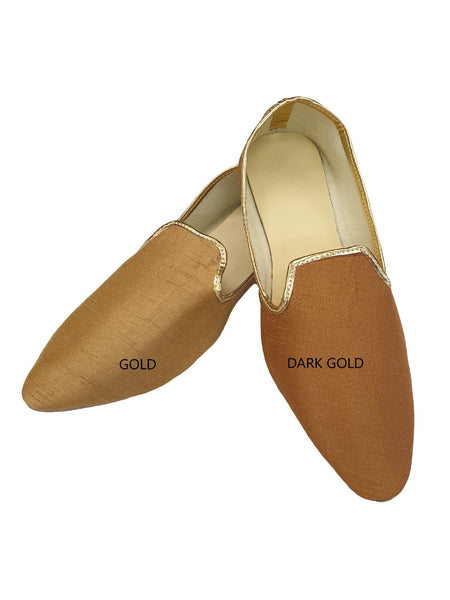 Very comfortable Gold Mojri - Indian Mens shoes - Bollywood - Weddings - Fancy Dress - Mojari, Khossay - Prachy Creations
