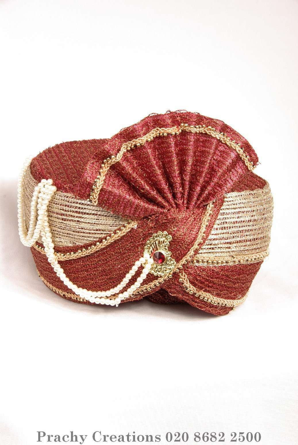Prachy Creations : Red / gold Crushed net Turban 201 - 1401 H0416