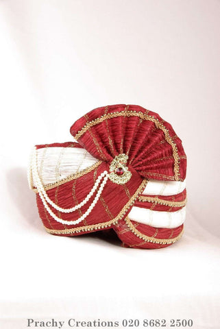 Red / Cream Crushed Tissue Turban 204 - 1407 H0416 - Prachy Creations