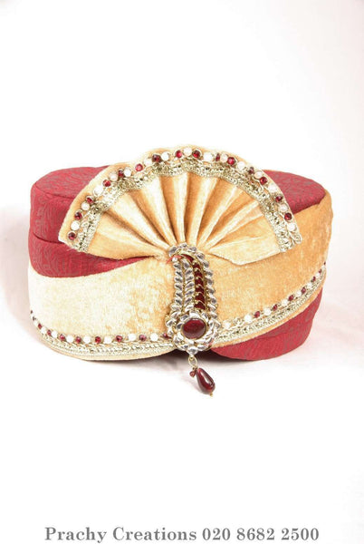 Prachy Creations : Maroon / Gold Turban 204 - 1471 H0416