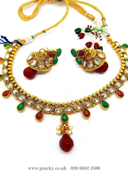 Prachy Creations : DJ 22205 - Choker set - KV 0916, Medium / Multi / Antique