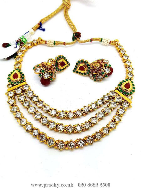 Prachy Creations : DJ 22206 - Choker set - KJ 0916, Medium / Multi / Antique