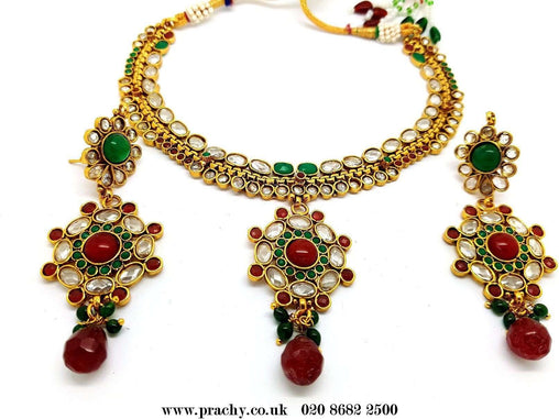 Prachy Creations : DJ 22208 - Choker necklace set - kt 1116, Medium / Multi / Gold
