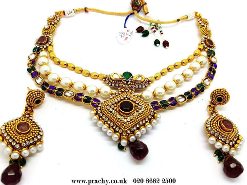 Prachy Creations : DJ 22211B - Choker necklace set - kr 1116