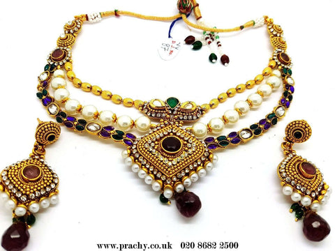 DJ 22211B - Choker necklace set - kr 1116 - Prachy Creations