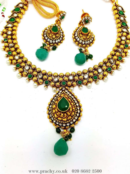 Prachy Creations : DJ 22212 - Choker set - KV 0916, Medium / Green / Antique