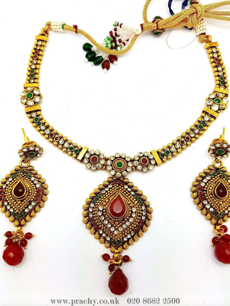 Prachy Creations : DJ 22213 - Choker set - KV 0916, Medium / Multi / Antique