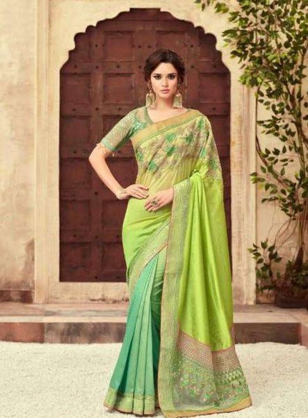 Prachy Creations : Designer shaded Green saree with embroidered silky Ready blouse - SS22012 TJ0319