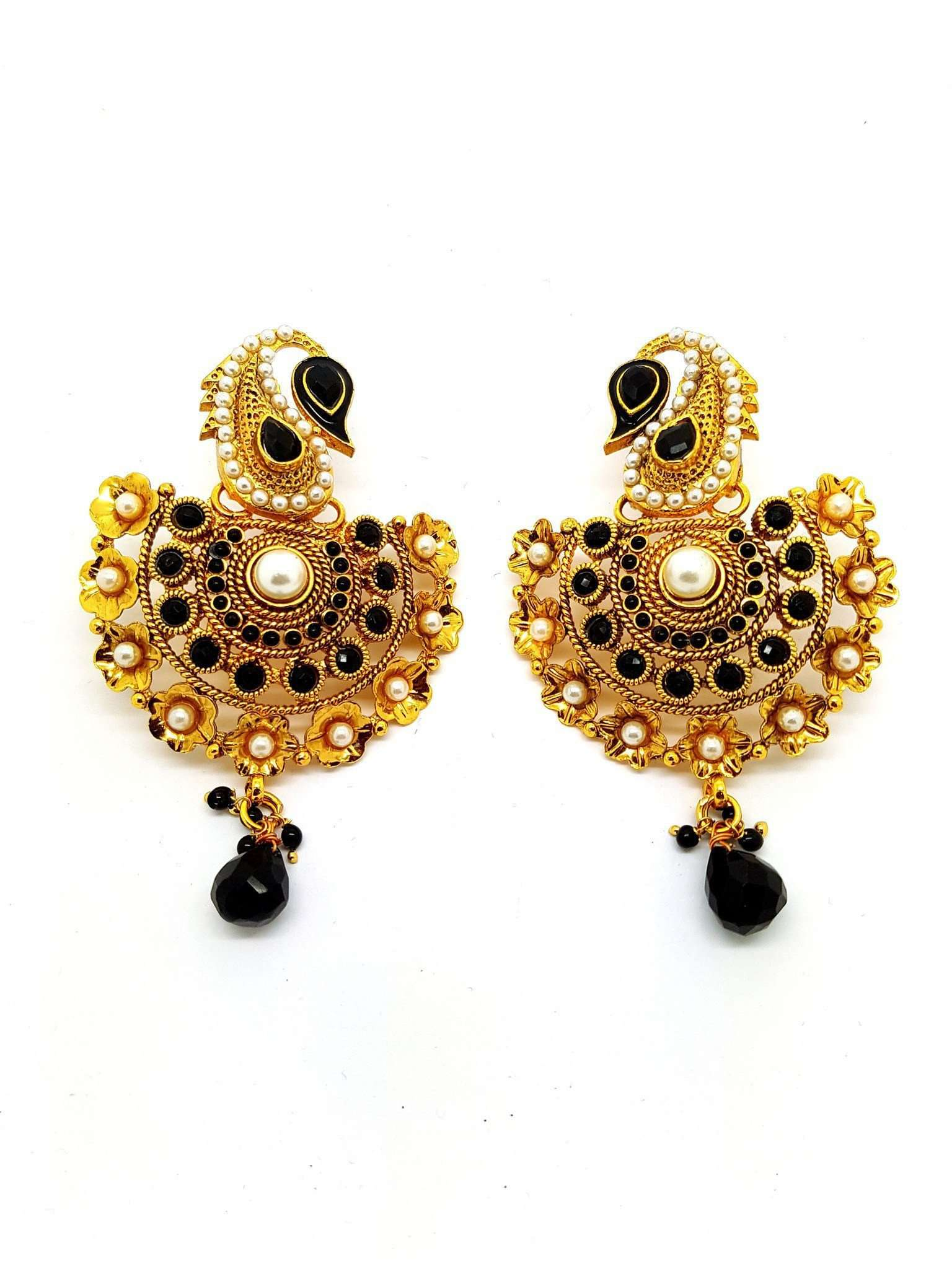 Prachy Creations : DJ 22254 - r.p 0716 - Earrings, Large / Black / Gold