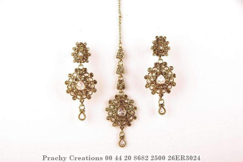 Antique gold finish tika with matching earrings 26ER3024 - Prachy Creations