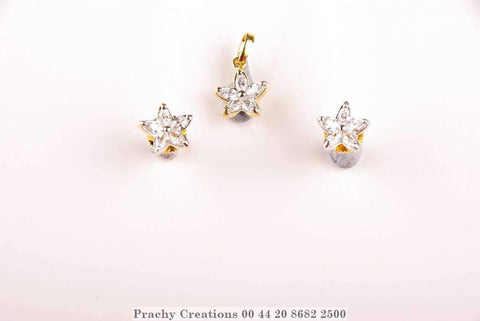 Petite Petal Pendant with matching earrings 380-47 - Prachy Creations