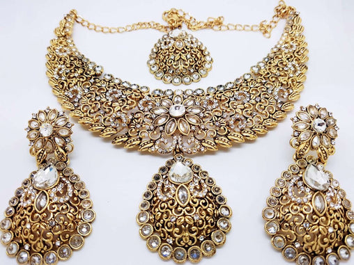 Prachy Creations : Bridal Indian Fashion Jewellery set - with necklace, earrings and Tika Dc8769 VA -, Clear