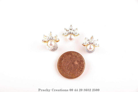 Small pearl pendant set with matching earrings 412-85 - Prachy Creations