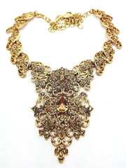 Antique gold finish Necklace, Earrings and Tika set - DC8722LCT KJ - Prachy Creations