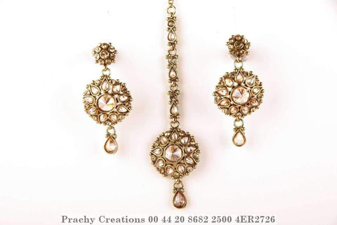 Antique Tika with matching earrings , LCT brown stones 4ER2726 - Prachy Creations