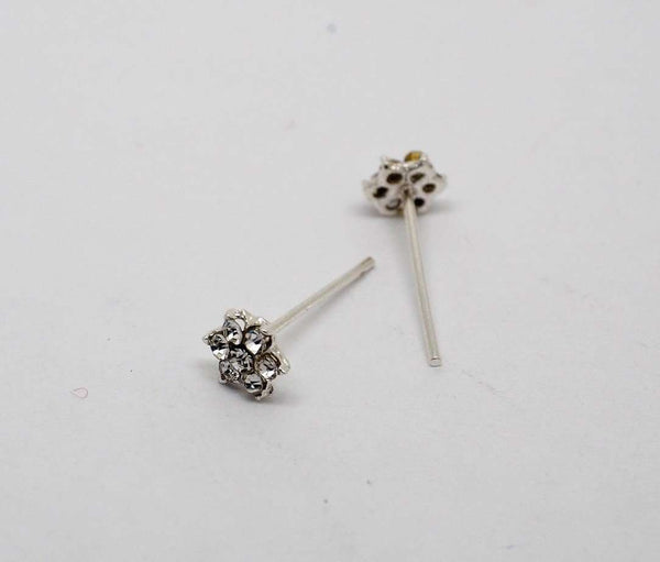 BollywoodParty - 7 stone Floral nose pin, Silver finish -  JV0418