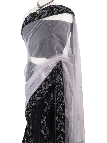 Prachy Creations : Designer Velvet Semi Stitched Lehnga Suit - Black with silver and grey embroidery - Ahalya1014AV