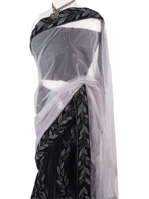 Designer Velvet Semi Stitched Lehnga Suit - Black with silver and grey embroidery - Ahalya1014AV