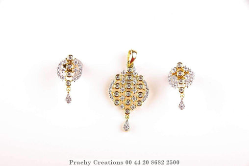 Prachy Creations : Beautifully crafted pendant with earrings 009, Gold