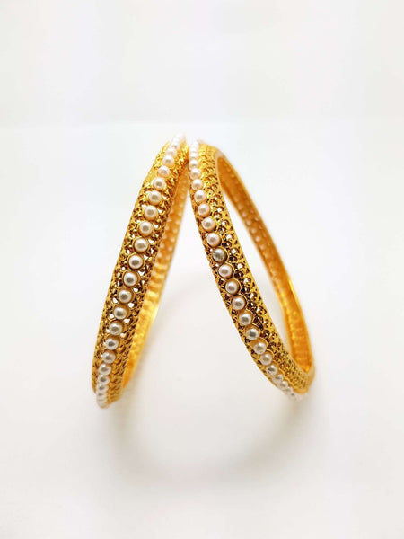 Prachy Creations : Pair of Gold finish Pearl Bangles - 4 sizes - Bollywood - Weddings -  AE180901VP 0918