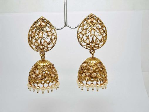 Prachy Creations : Antique Gold finish Indian earrings for bollywood parties J 1018 - AE181001J, Pearl / Large
