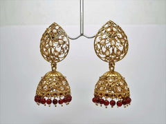 Antique Gold finish Indian earrings for bollywood parties J 1018 - AE181001J - Prachy Creations