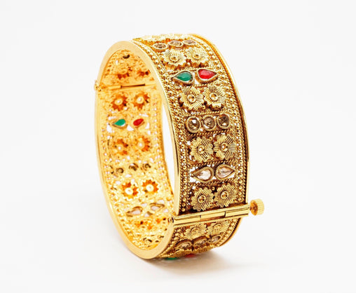 Openable Gold finish Kada Bangle - Various sizes - Bollywood - Weddings -  AE7102 T0919 - Prachy Creations