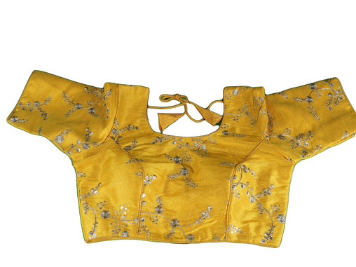 Amber Yellow Gold Embroidered Saree blouse -  Dispatch from London before 2pm - AF1916 Ap1119