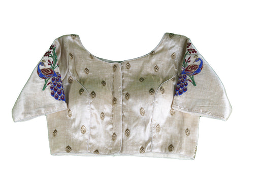 Cream Peacock Embroidered Saree blouse - AF1917 R1119