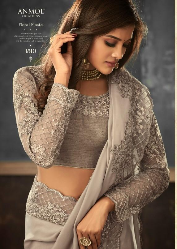 Designer Silky Grey Saree with embroidered Ready Blouse  - TFH-ANM1510 TY0719 - Prachy Creations