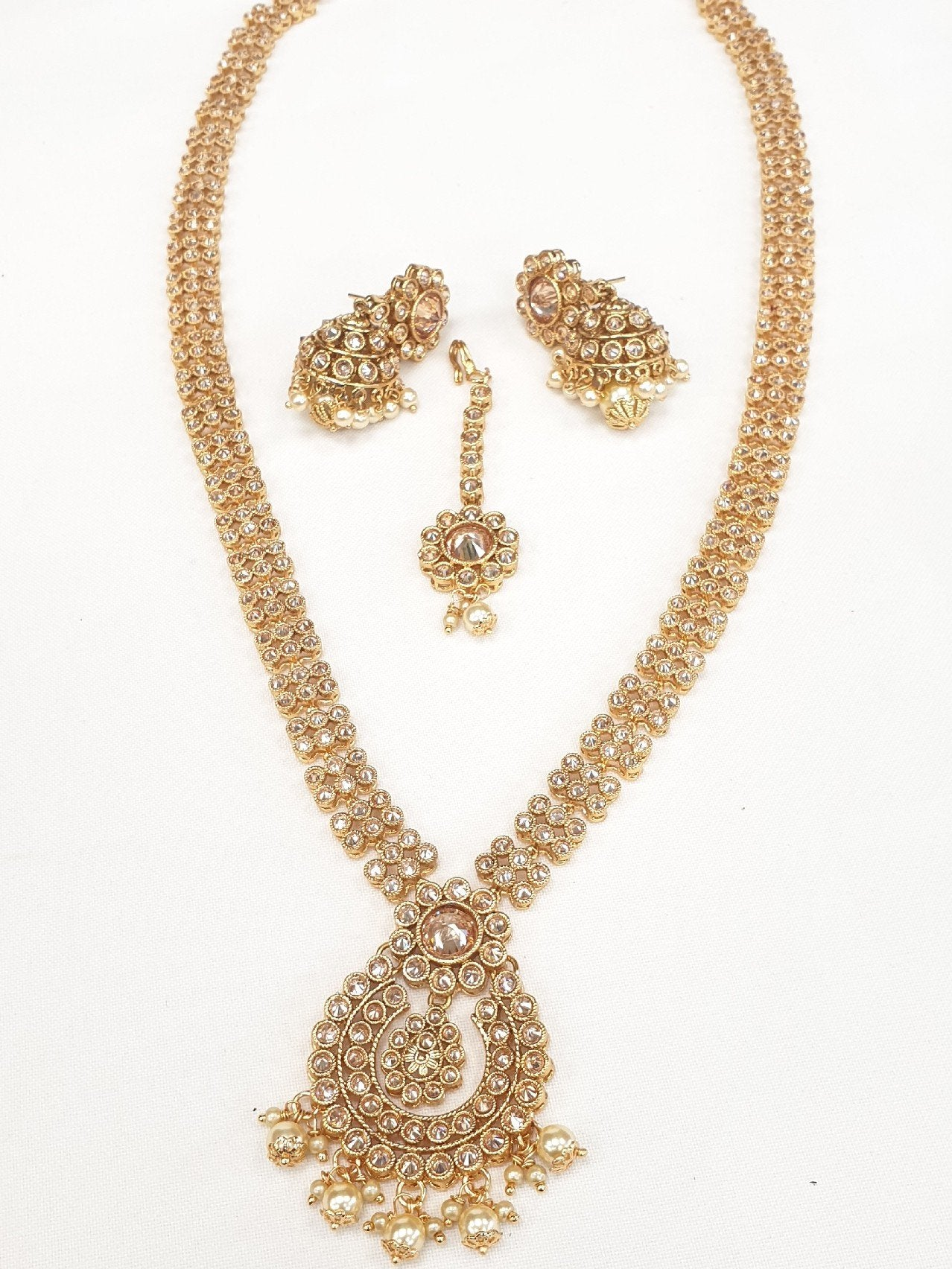 Long necklace & Earrings set - Bollywood - Weddings - AVON5010 VK0919 - Prachy Creations