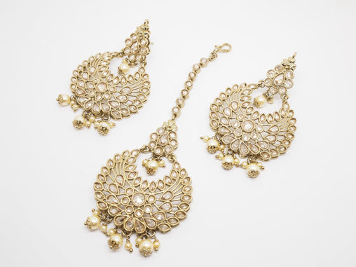 BollywoodParty - Pair of hand carfted Earrings and Tika set (Head Piece)- AVON6057 KV0919