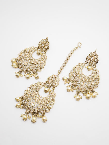 BollywoodParty - Pair of hand carfted Earrings and Tika set (Head Piece)- AVON6062 KV0919 - Prachy Creations