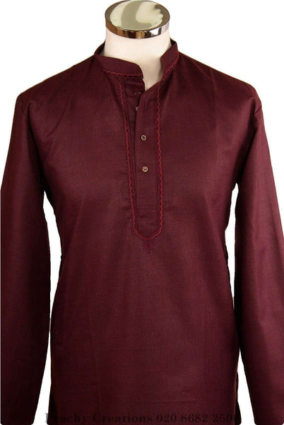 Prachy Creations : Maroon Kurta top - Indian shirt - Ideal on a pair of jeans - Adhikari R 0316