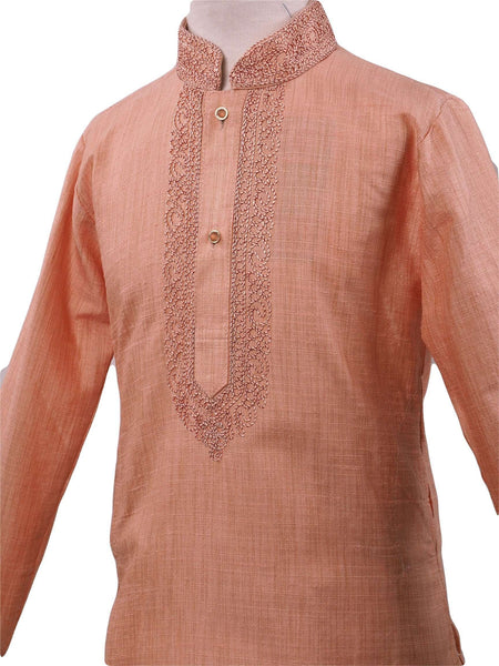 Bollywood - Boys Kurta set with churidar trousers, Beige - Adhir AP0319 - Prachy Creations