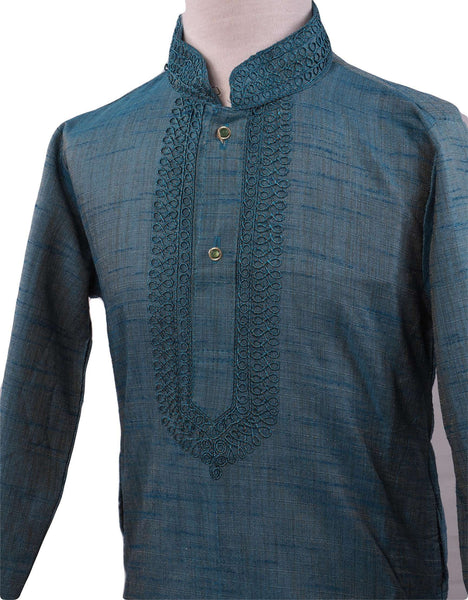 Bollywood - Boys Kurta set with churidar trousers, Turquoise - Adhir AP0319 - Prachy Creations