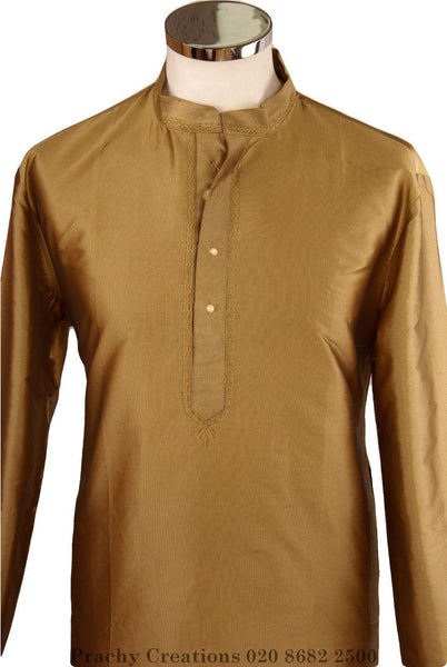 Prachy Creations : Adhish - Gold Kurta top - Mens Indian shirt - Ideal on a pair of jeans - R 0316