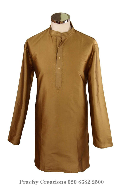 Adhish - Gold Kurta top - Mens Indian shirt - Ideal on a pair of jeans - R 0316 - Prachy Creations
