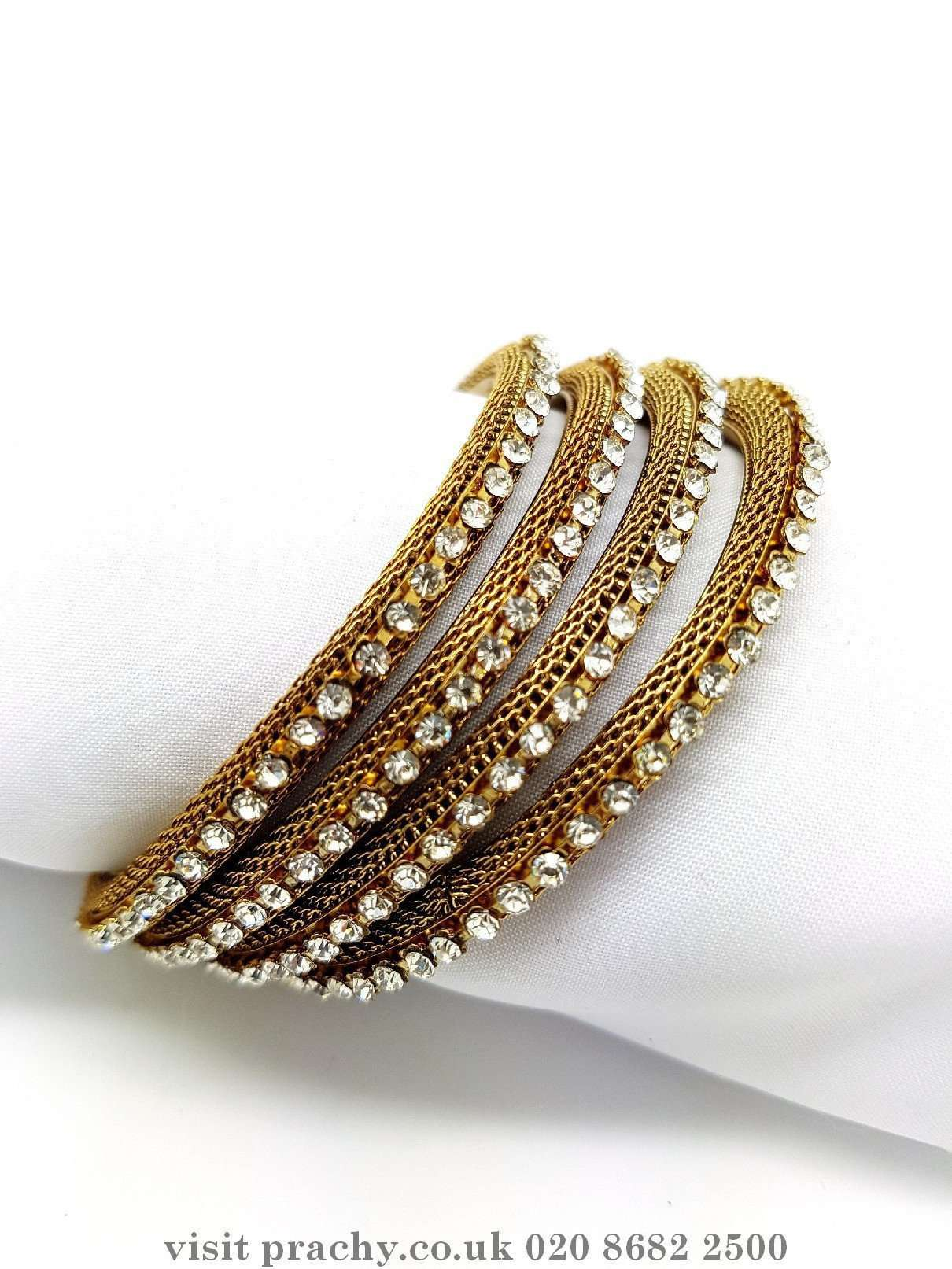 Antique Finish Bangles (Set of 4) - V 0816 AE870 - Prachy Creations