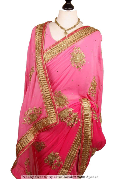 Prachy Creations : Lightly Shaded saree with gold border and flower motifs - Apsara