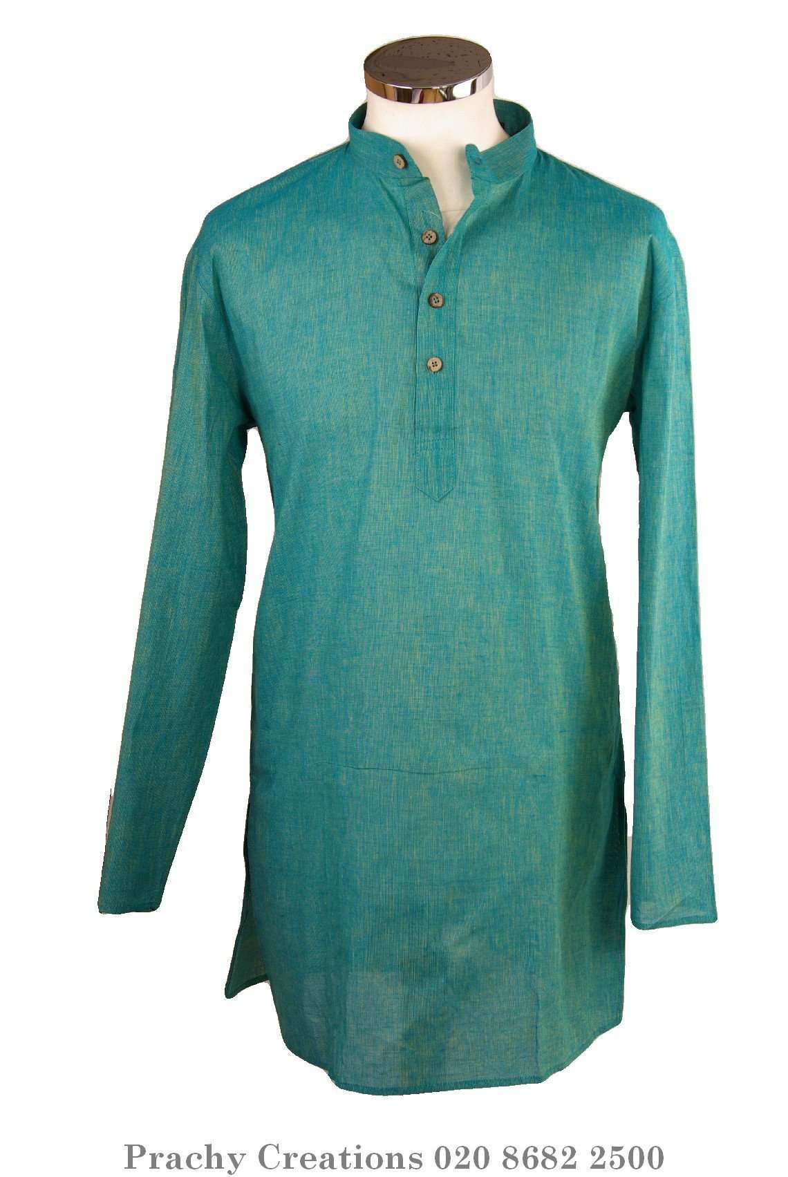 Turquoise Kurta top - Indian shirt - Ideal on a pair of jeans - Azad P 0316 - Prachy Creations