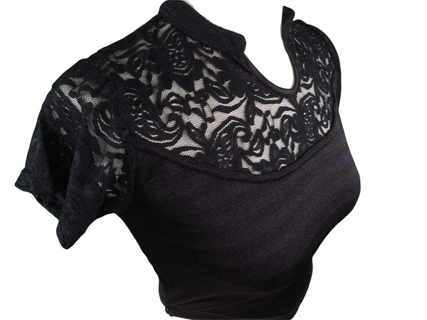 Stretchy Black saree blouse, Lace sleeves, Neck & round back - Bollywood - BLS-V012R-BLK