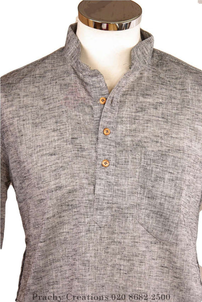 Prachy Creations : Grey Kurta top - Indian shirt - Ideal on a pair of jeans - Badshah A 0316