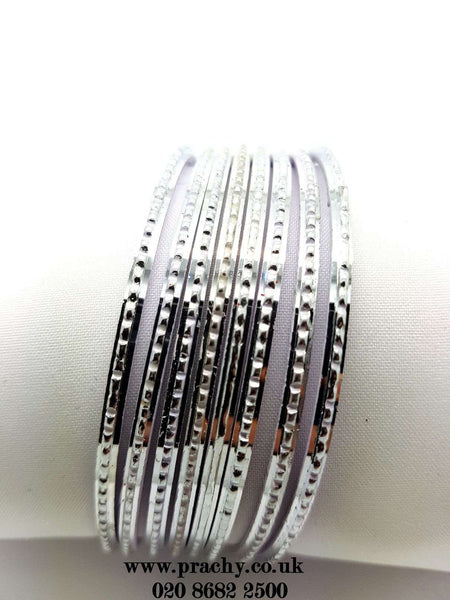 PB 25 J - 30 Bangles Silver set - Bollywood, Weddings, Fancy Dress, Return Gift - Prachy Creations