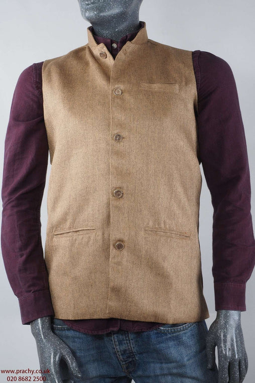 Prachy Creations : Civic - Beige Jute cotton Mens waistcoat 04KP17
