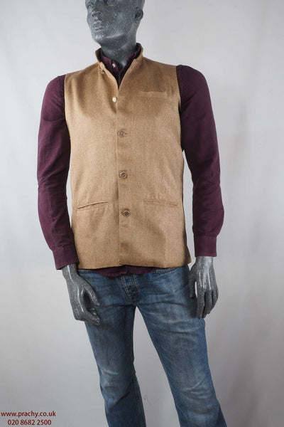 Civic - Beige Jute cotton Mens waistcoat 04KP17