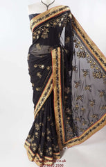 Urvi 03vc17 - All over embroidered Black Saree , Bollywood, Weddings - Prachy Creations
