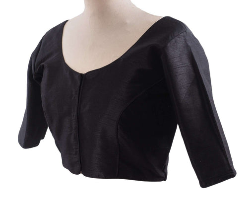 "Prachy Creations : Black Dupion Silk Saree blouse - size 34""-52"" - S, M, L, XL, XXL, XXXL and XXXXL - Bollywood, 34"" / Black"